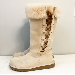 UGG Upside Lace Shearling Suede Tall Boots
